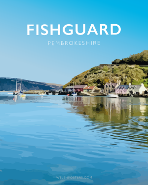 fishguard summer pembrokeshire wales beach coast poster print west south seaside welsh posters travel railway