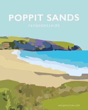 poppit sands art teifi welshposters pembrokeshire art travel poster framed