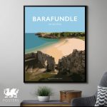 Barafundle Welsh travel poster