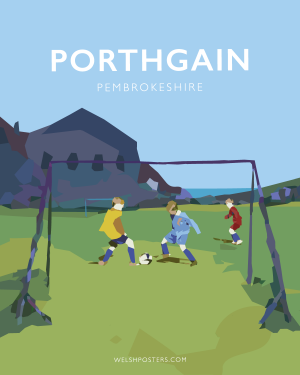 Porthgain Football Pitch Poster (travel poster)