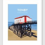 Tenby Lifeboat Travel Poster Welshposters Wales Retro Rnli Pembrokeshire Print
