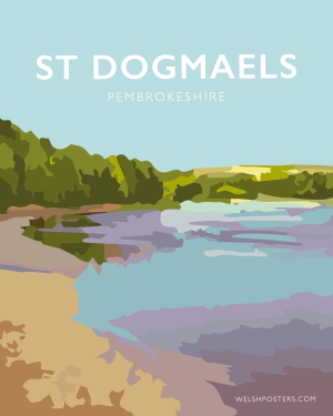 Saint Dogmaels teifi travel poster pembrokeshire art welsh posters