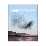 aberystwyth pier starlings poster ceredigion travel posters prints framed welsh art