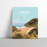 mwnt beach poster ceredigion metal print travel posters