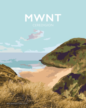 mwnt beach poster ceredigion travel posters wales welshposters