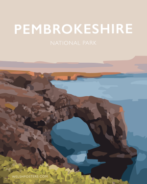 pembrokeshire green bridge welsh poster print pembrokeshire art travel poster sea arch