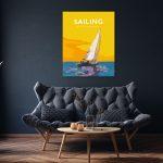 sailing quote poster metal print boat sailing print vintage
