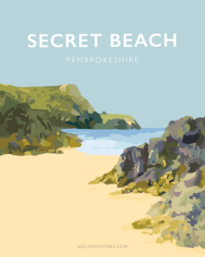 Secret beach welsh poster print pembrokeshire art travel poster