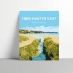 freshwater east pembrokeshire vintage welsh poster metal print wales