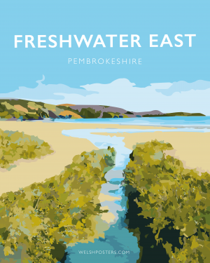 freshwater east pembrokeshire vintage welsh poster print wales pembroke travel posters