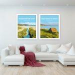 freshwater east freshwater west pembrokeshire vintage welsh poster metal print wales