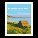 freshwater west pembrokeshire vintage welsh poster framed print wales
