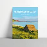 freshwater west pembrokeshire vintage welsh poster metal print wales