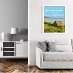 freshwater west pembrokeshire vintage welsh poster