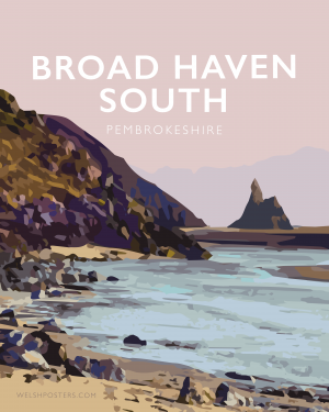 broad haven south metal print pembrokeshire welsh posters railway modern travel poster print