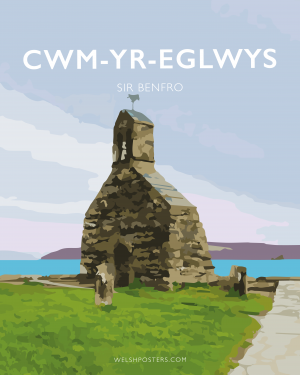 cwm yr eglwys sir benfro pembrokeshire sir benfro welsh posters travel poster railway style welsh language