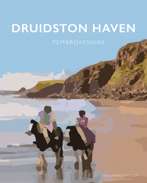 druidstone haven beach pembrokeshire horse riding railway poster travel print