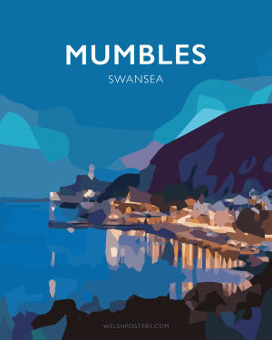 mumbles swansea poster gower vintage welsh poster print wales travel posters