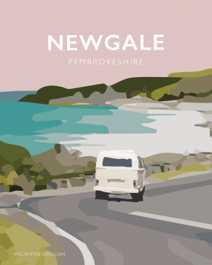 newgale road into pembrokeshire travel poster railway style wales framed white poster