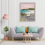 newgale road room pembrokeshire welsh posters travel poster railway style wales art