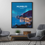 mumbles at night swansea bay poster gower vintage welsh poster print wales travel posters