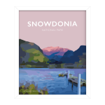Snowdonia national park Mountain poster travel prints vintage style poster white frame