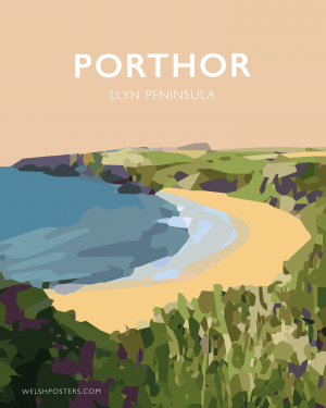 Porthor travel poster llyn welsh poster metal print north wales wall art travel posters
