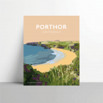 porthor travel poster llyn welsh poster metal print wales travel posters