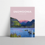 Snowdonia national park Mountains poster travel prints vintage style Metal Print white frame