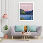 Snowdonia national park Mountains hiking poster prints vintage style art north wales white frame
