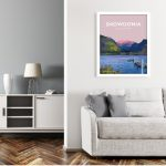 Snowdonia national park Mountain hiking poster travel prints vintage style art north wales white frame