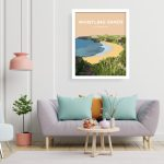 whistling sands white frame welsh poster print wales travel posters north wales