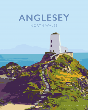 anglesey north wales poster travel vintagestyle modern poster