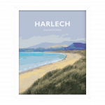 harlech snowdonia north wales poster travel vintagestyle white framed poster