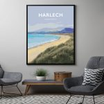 harlech snowdonia north wales poster travel vintagestyle black framed poster