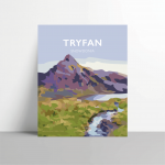 tryfan mountain print snowdonia north wales poster travel vintagestyle poster