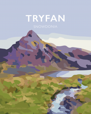 tryfan mountain print snowdonia north wales poster travel
