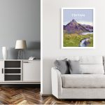 tryfan mountain print snowdonia north wales poster travel framed poster