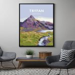tryfan mountain print snowdonia north wales poster travel framed black poster
