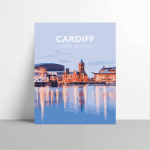 cardiff metal print mermaid quay travel poster wales welsh cardiff city welsh posters