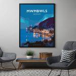 mwmbwls abertawe cmyru posteri teithio cymraeg printiau black frame welsh posters