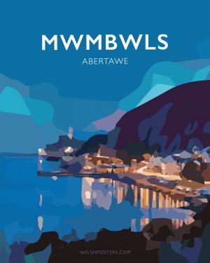 mwmbwls abertawe cmyru posteri teithio cymraeg printiau welsh posters welsh language white framed