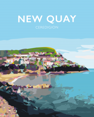 new quay wales ceredigion newquay white frame welsh posters travel poster railway vintage