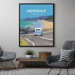 newgale road pembrokeshire beach print coast wales west south poster welsh posters travel railway black frame