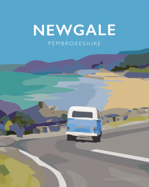 newgale road pembrokeshire blue beach print coast wales west south poster welsh posters travel railway