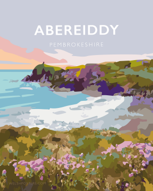abereiddy pembrokeshire abereiddi coast wales west south poster welsh posters travel railway