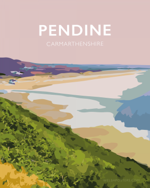 pendine carmarthenshire welsh poster print wales travel posters prints railway vintage beach sands