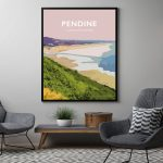 pendine carmarthenshire welsh poster print wales travel posters prints railway vintage beach sands frame