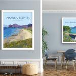 morfa nefyn Lleyn peninsula welsh poster print north wales travel posters prints vintagestyle railway vintage