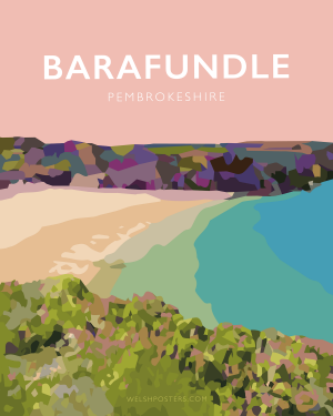 barafundle bay pembrokeshire beach coast path nationalpark print coastal wales west south poster welsh posters travel railway